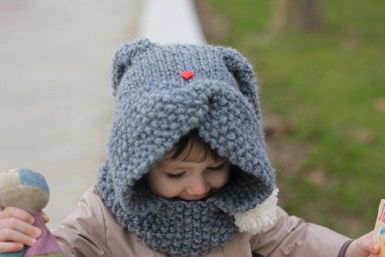 Rabbit Hood Knitting Pattern ZA?KA Toddler Child by KatyTricot