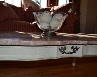 Antique Marble and Walnut Coffee Table