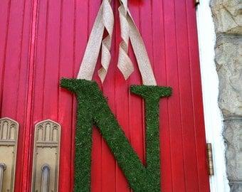 "22"" Moss Monogram, Wedding  Decor, Spring Wreath, Photography Prop"