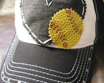 Softball mom love patchwork distressed ball cap