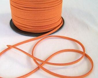 Orange Faux Suede Cord 20 Feet USA Seller