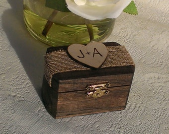 rustic wedding ring box, burlap wedding wooden ring box for 2 rings