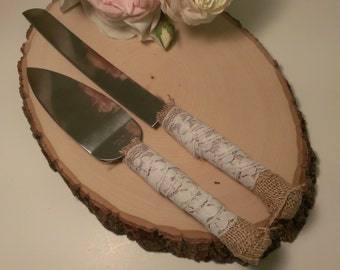 rustic cake knife burlap and lace wedding cake serving set rustic wedding cake server and knife(K107)