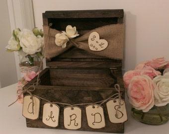 personalized rustic card box, burlap wedding reception card box