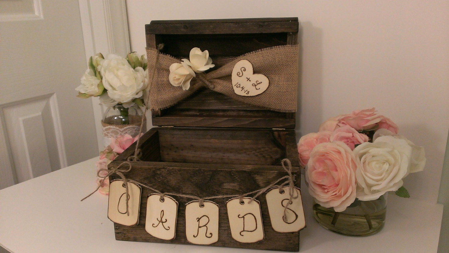 Rustic Wedding Gift Card Box : personalized rustic card box burlap wedding by RedHeartCreations