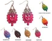 VENUS IN FURS- Hand Painted Lace Earrings