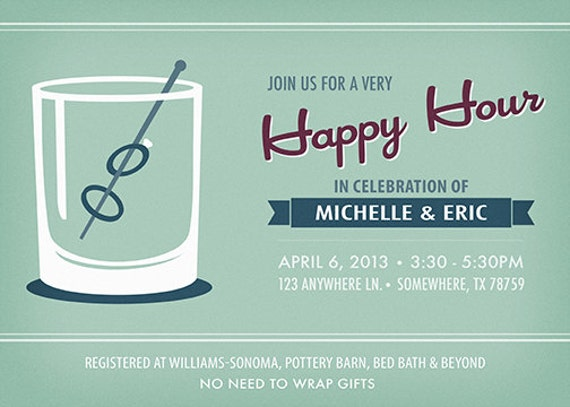 Happy Hour Wedding Shower Invitation Printable By