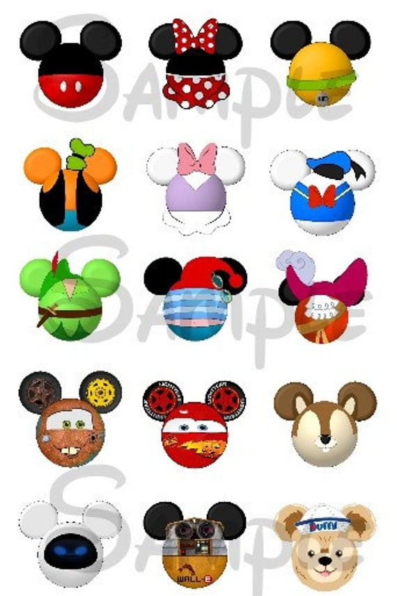 various character inspired mickey head digital bottle cap Mickey Mouse Ears Outline Mickey Mouse Hands Clip Art