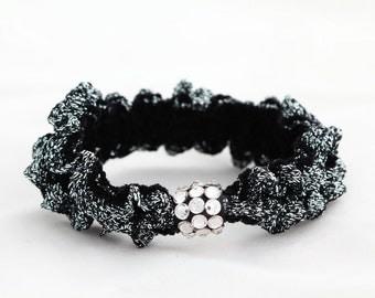 Grey-Black scrunchie-ponytail holder-Swarovski elements crystal-rubber band-elastic-hair tie