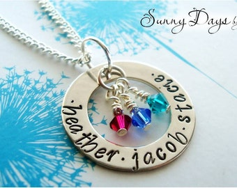 Mother's necklace with three names and birthstones - Mommy - Wife - Mother's Day - Grandmother