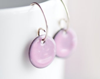 Small Enamel Earrings, Glass on Copper, Pink, Handmade Sterling Silver Ear Wires, Torch Fired Enamel Earrings, Simple and Classic