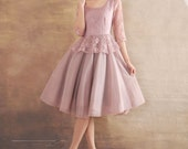 Violet dress Tulle Chiffon dress women dress fashion dress Long sleeve dress---WD047