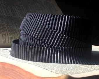 pleated satin black trim ribbon