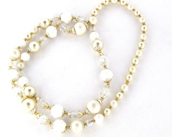 Vintage Faux Pearl Beaded Costume Necklace
