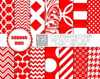 """Seeing Red Printable Digital Papers - 12""""x12"""" - 300 dpi - for scrapbooking, cards, invitations - Dots, Stripes, Chevron, Designs"""