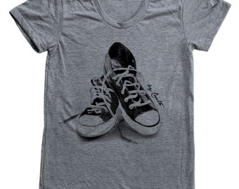 Womens Sneakers T Shirt Custom Hand Screen Printed American Apparel Tri-Blend Short Sleeve Available: S, M, L, Xl