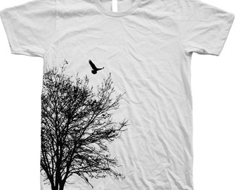 Tree T shirt Mens Unisex Hand Screen Print  Crew Neck 100% Cotton Available: S , M , L , XL , XXL