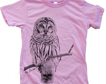 Kids OWL Tshirt  Custom Hand Screen Printed American Apparel Crew Neck Available Size 2-12
