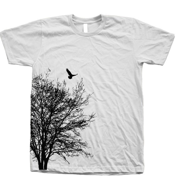 Tree t shirt mens unisex hand screen print crew neck 100 for How to print your own shirt