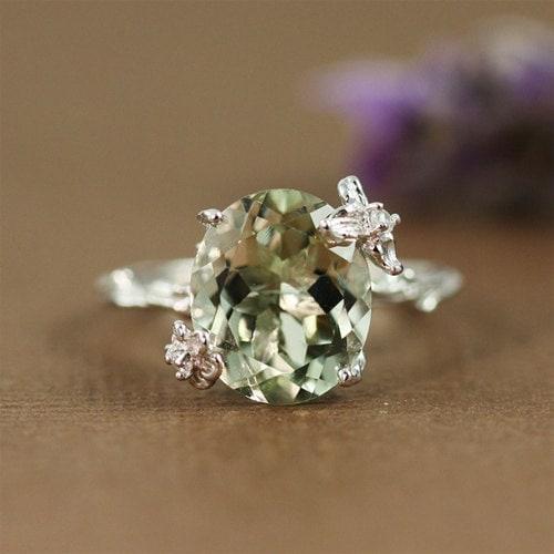 Unique Green Amethyst Ring