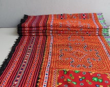 SALE Upcycled fabric, tribal design, reclaimed Hmong fabric, hand embroidery, OOAK, large size upholstery quality (032)