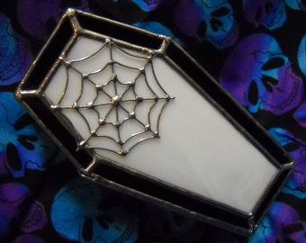 Stained Glass Coffin Keepsake Box with Spider Web Decoration