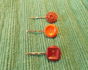 3 Red Antique Button Bobby Pins, unique