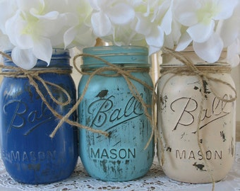 SALE!! 3 Pint Mason Jars, Painted Mason Jars, Wedding Centerpieces, Baby Shower Decorations, Dark Blue, Light Blue And Creme Mason Jars