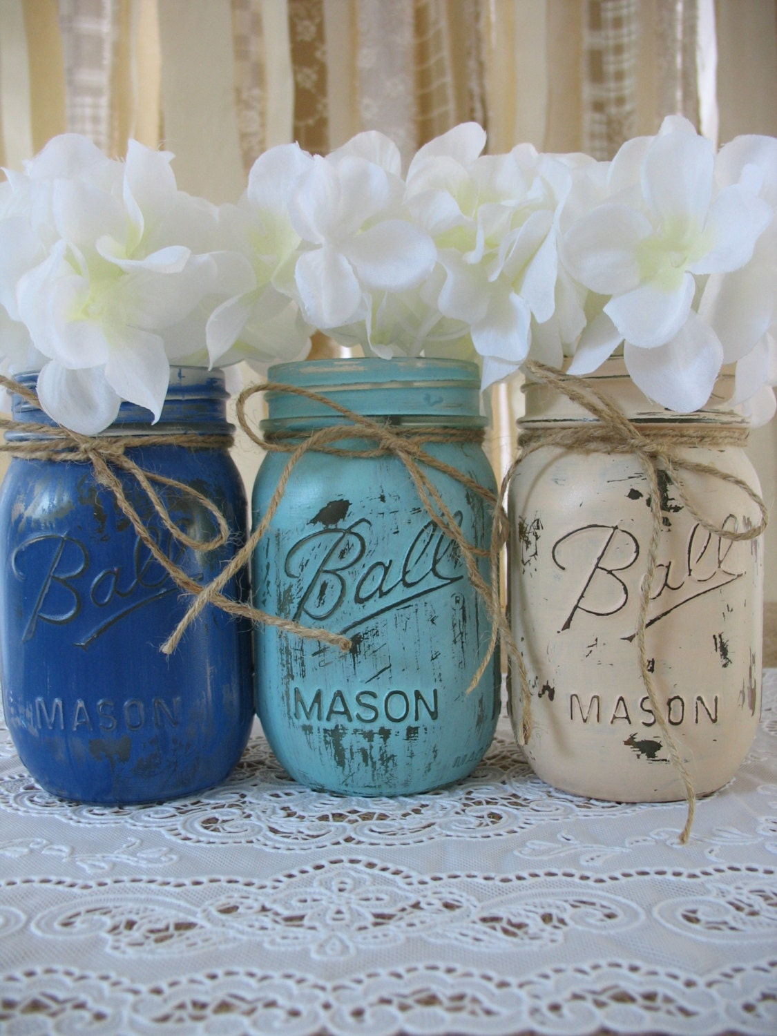 SALE 3 Pint Mason Jars Painted Rustic Wedding