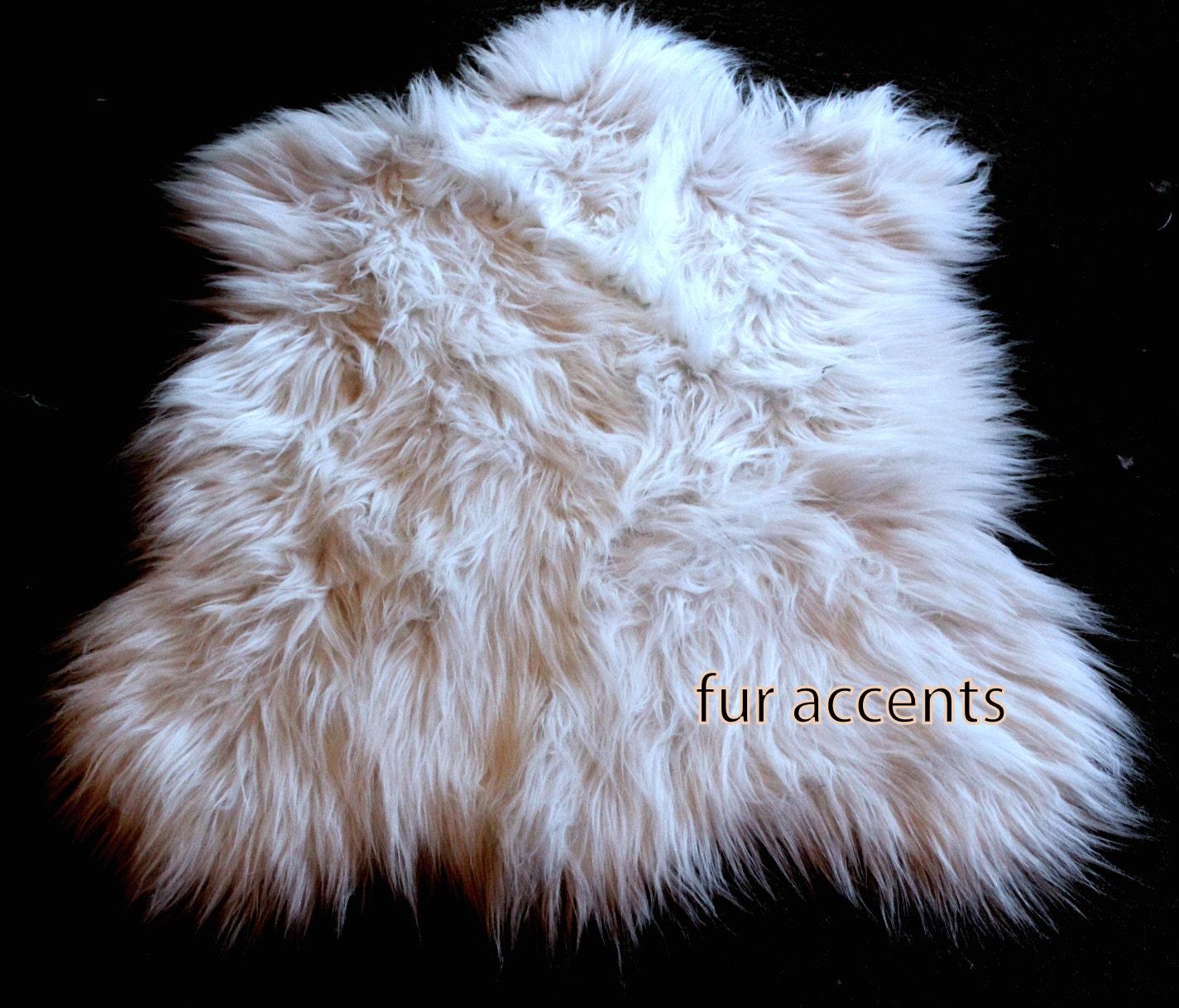 Fake Dog Skin Rug: FUR ACCENTS Long Hair Shaggy Sheepskin Area Rug / By
