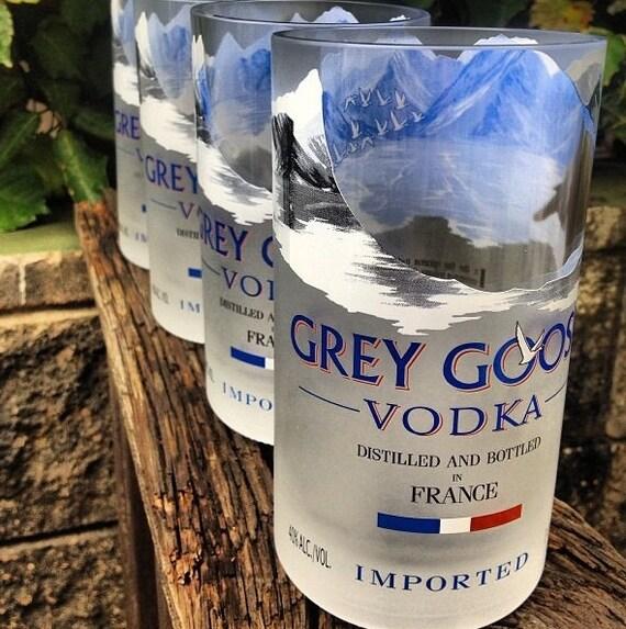 grey goose glasses made from 1 liter grey goose bottles set of 2. Black Bedroom Furniture Sets. Home Design Ideas