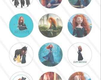 Disney Pixar Brave Princess Merida Birthday Party 2 inch Cupcake Toppers digital Printables Custom Party Favor Circles