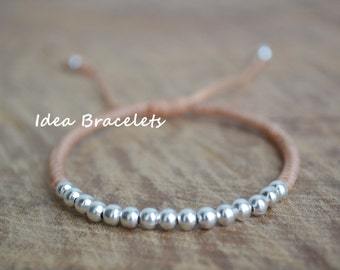 Beige Simple Jewelry Silver Beads Bracelet