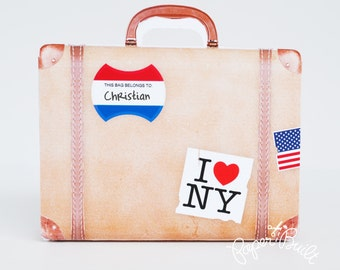 Vintage Suitcase Favor Bag - Gift Bag, Party Favor, Suitcase, Luggage, Luggage Favor, Suitcase Favor - Printable PDF INSTANT DOWNLOAD small