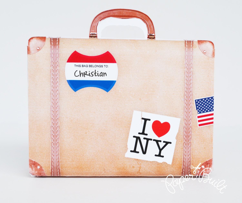 vintage suitcase favor bag gift bag party favor suitcase. Black Bedroom Furniture Sets. Home Design Ideas