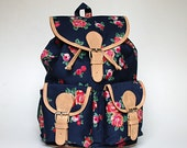 Blue Floral Backpack - ShaunDesign