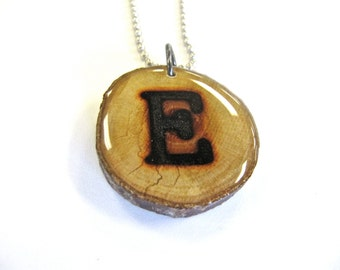 Letter E Necklace, Reclaimed Wood