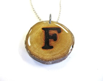 Letter F Necklace, Reclaimed Wood