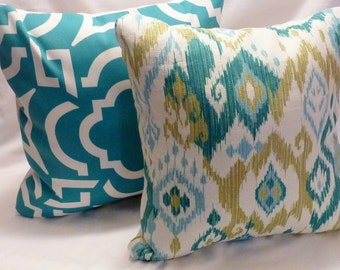 Decorative Ikat Pillow Cover - Mill Creek - Turquoise - Teal - Designer fabric - pillows - 18x18 - throw pillow - pillow covers