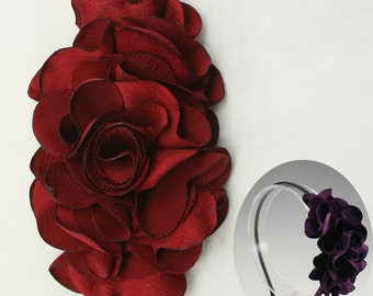 Satin Flower Motif Corsage Brooch for Headband, Hair Accessories, Hat, Hair Clips or more Accessories Handmade Annielov Flower08-red