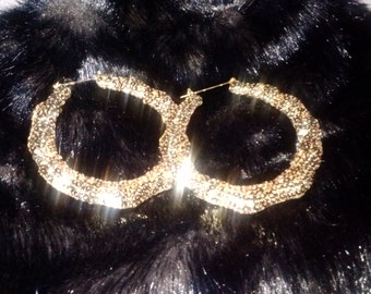 Gold Sequins Bamboo Earrings