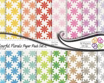 Floral Digital Paper, Colorful Florals Paper Pack Set 2, Commercial Use, Instant Download, Digital Scrapbooking PAper