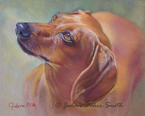Sweet Red Doxie: I Love You Dog Art Print,