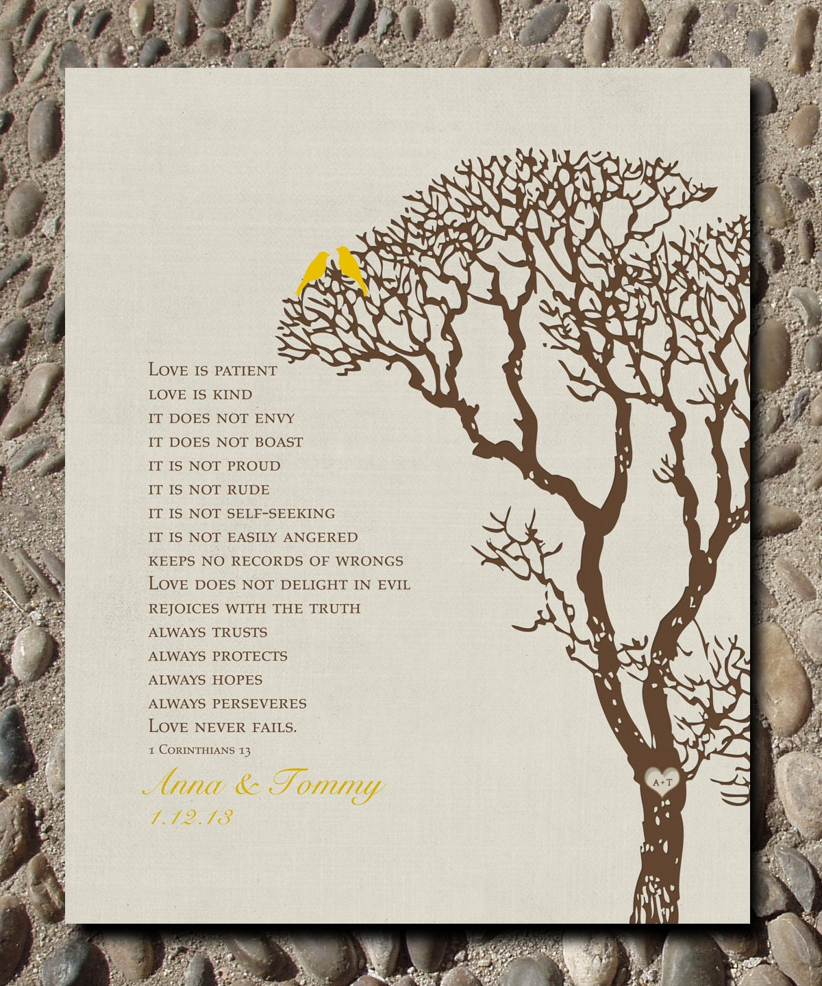 Personalized Custom 1 Corinthians 13 Love Birds Family Tree