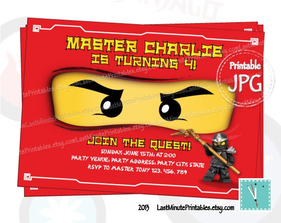 Items similar to Ninjago invitation ninjago eye ninjago invite – Ninjago Party Invitations