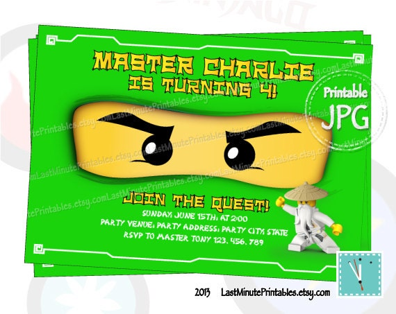 Items similar to Ninjago invitation, ninjago eye, ninjago ...