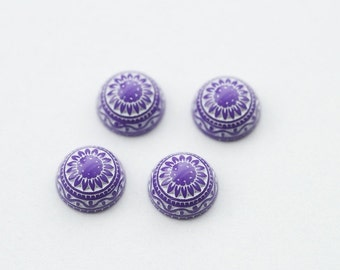 4 PCs 10mm mosaic cabochons purple MC012