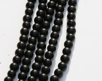 200 PCs  glass beads / black / frosted / 4mm MS-4