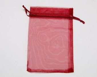 10 PCs Organza Gift Bags / 10x15cm / dark red / jewelry bags / jewelry packaging   OS070