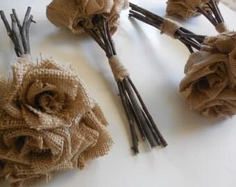 Burlap Bouquet  / Qty 4 Wedding bouquets  Forever flower